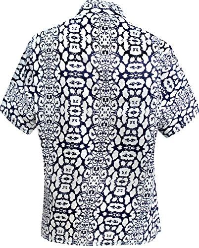 Botón hawaiano de la camisa blusas con cuello hacia abajo las mujeres de manga corta campamento de la playa azul azul marino