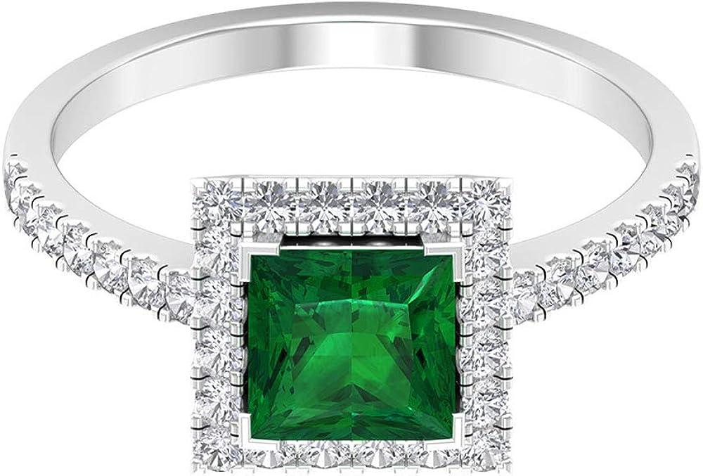 Anillo de compromiso de esmeralda de 1 quilt, anillo redondo de diamantes de 1/2 quilt, anillo de piedra natal de mayo, anillo solitario vintage, anillo de halo de diamante, 14K Oro