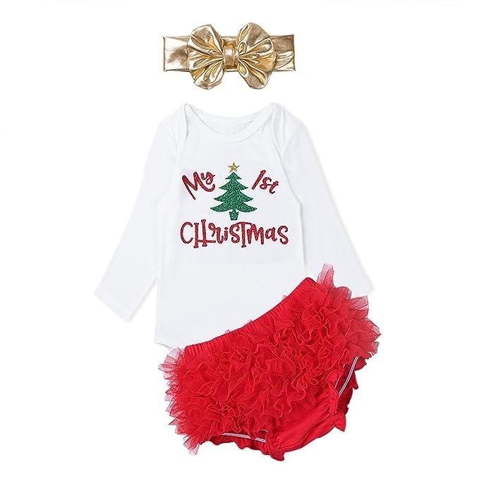 FEEHOW Disfraz bebé niña de Navidad Traje 3 piezas conjunto Pelele Mameluco blanco de manga larga+Pololo+Venda Rojo y blanco 24 meses: Amazon.es: Ropa y ...