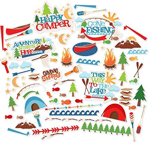 Paper Die Cuts - Happy Camper - Over 60 Cardstock Scrapbook Die Cuts - by Miss Kate Cuttables