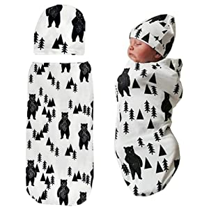 Newborn Swaddle Sack with Baby Hat Set Sleeping SackSoftStretchy Cotton for 0-3 Months Baby Boys Ink Bear Print by TIANNUOFA