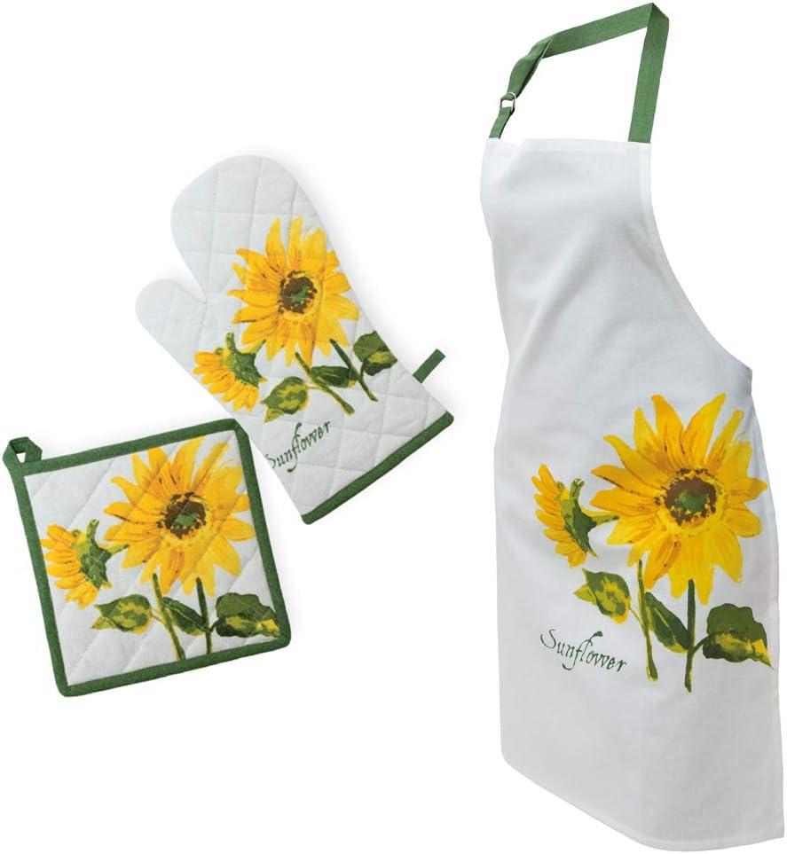 Sunflower Apron, Oven Mitt and Potholder Set - Sunflower Kitchen Accessories