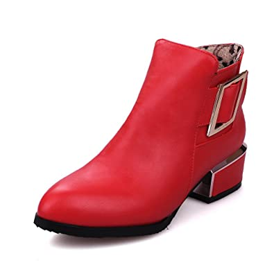 Women's Solid Low-Heels Pointed Closed Toe PU Zipper Boots
