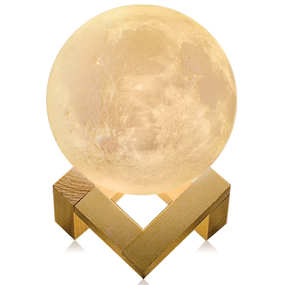 MAOBEN 3D Printed Moon Lamp LED Baby Night Light Table Bedside Lamp USB Charging Wooden Base Touch Sensor Control 2-Colors Dimmable Switch for Baby Bedroom Birthday Christmas Decoration (20CM)