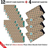 RFID Blocking Sleeves, 12 Credit Card & 4 Passport Protectors, Blocks Radio Frequency ID, Fits Wallet, Purse & Cell Phone Case. Identity Theft Protection, Our Sleeves Fit New Passports, Ebook Included