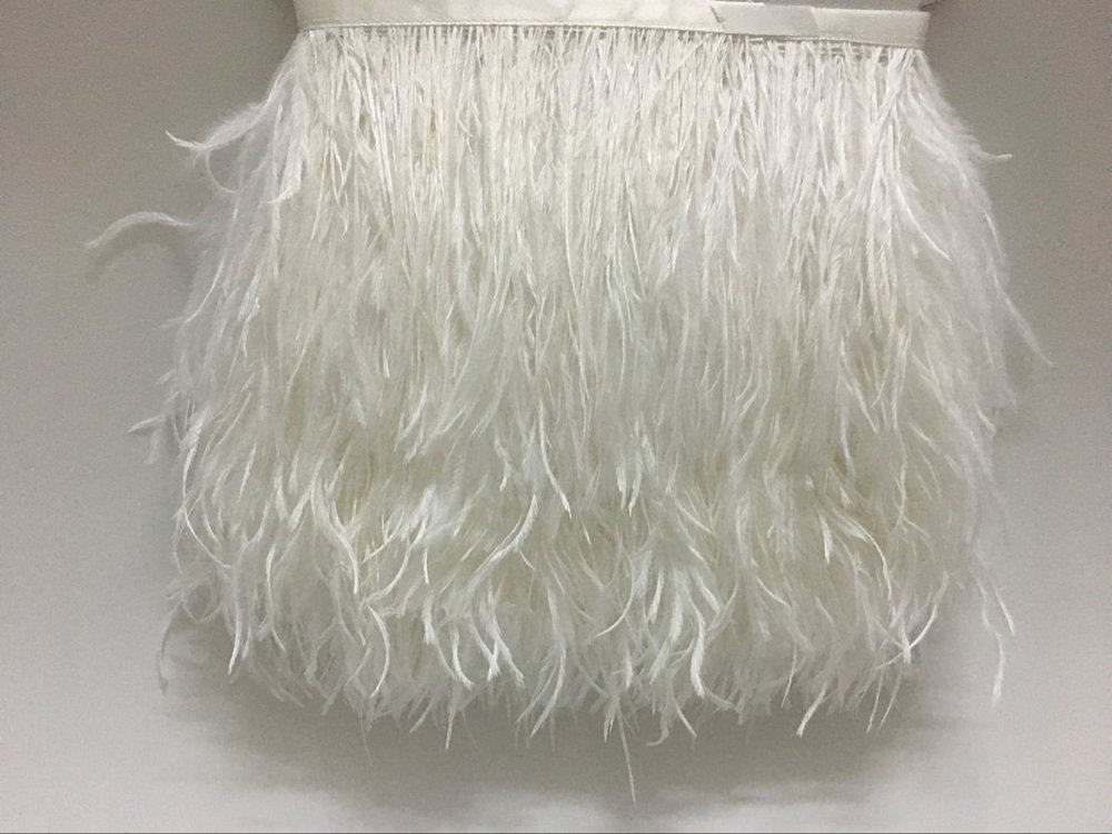 ADAMAI Natural Ostrich Feathers Trims Fringe DIY Dress Sewing Crafts Costumes Decoration Pack of 10 Yards (White) by ADAMAI