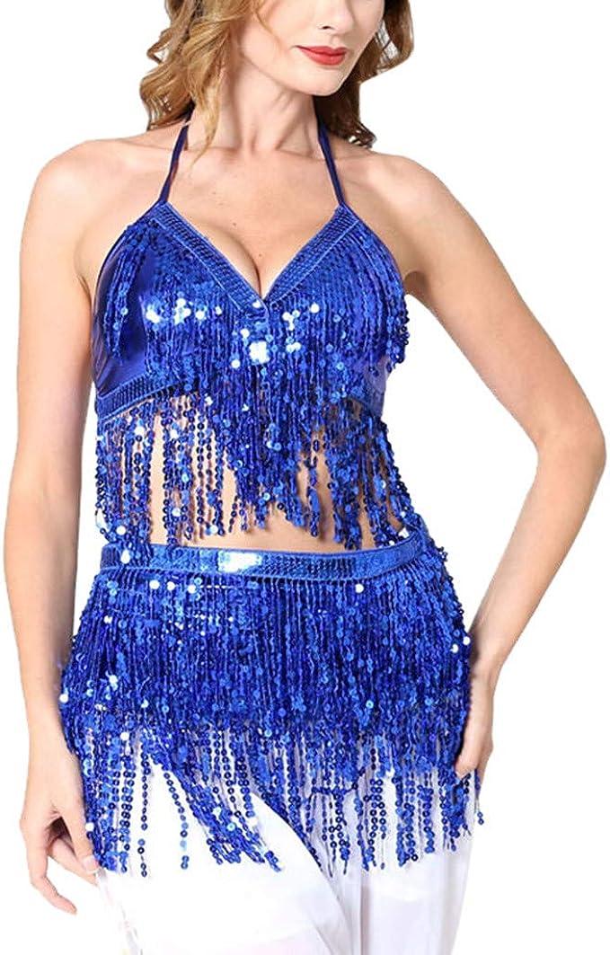 Qiran Vestido de Mujer de Acero con Lentejuelas para Bailar ...