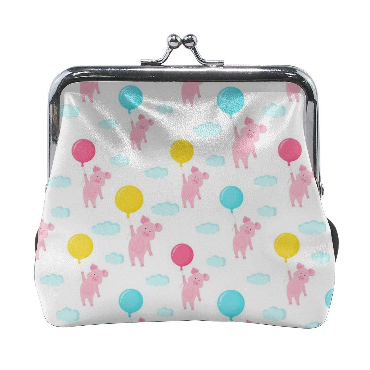 Cute Pig Flying In The Sky Holding The Balloon Cute Buckle Coin Purses Buckle Buckle Change Purse Wallets