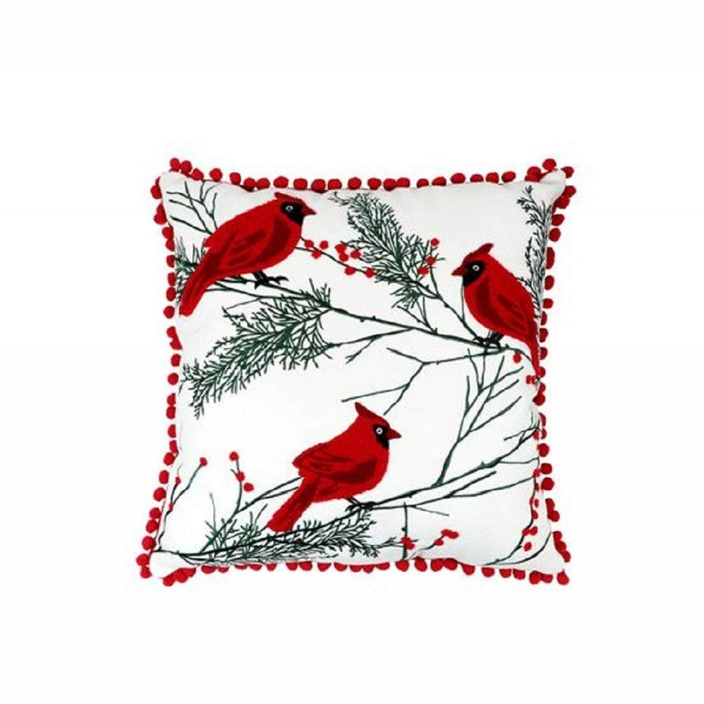 DEI Cardinal Pillow, 16'' sq, Multicolored