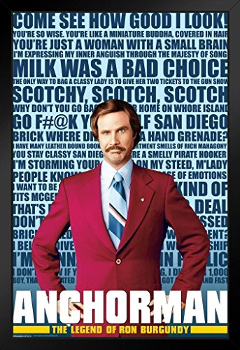 Pyramid America Anchorman Quotes Movie Framed Poster 12x18 i