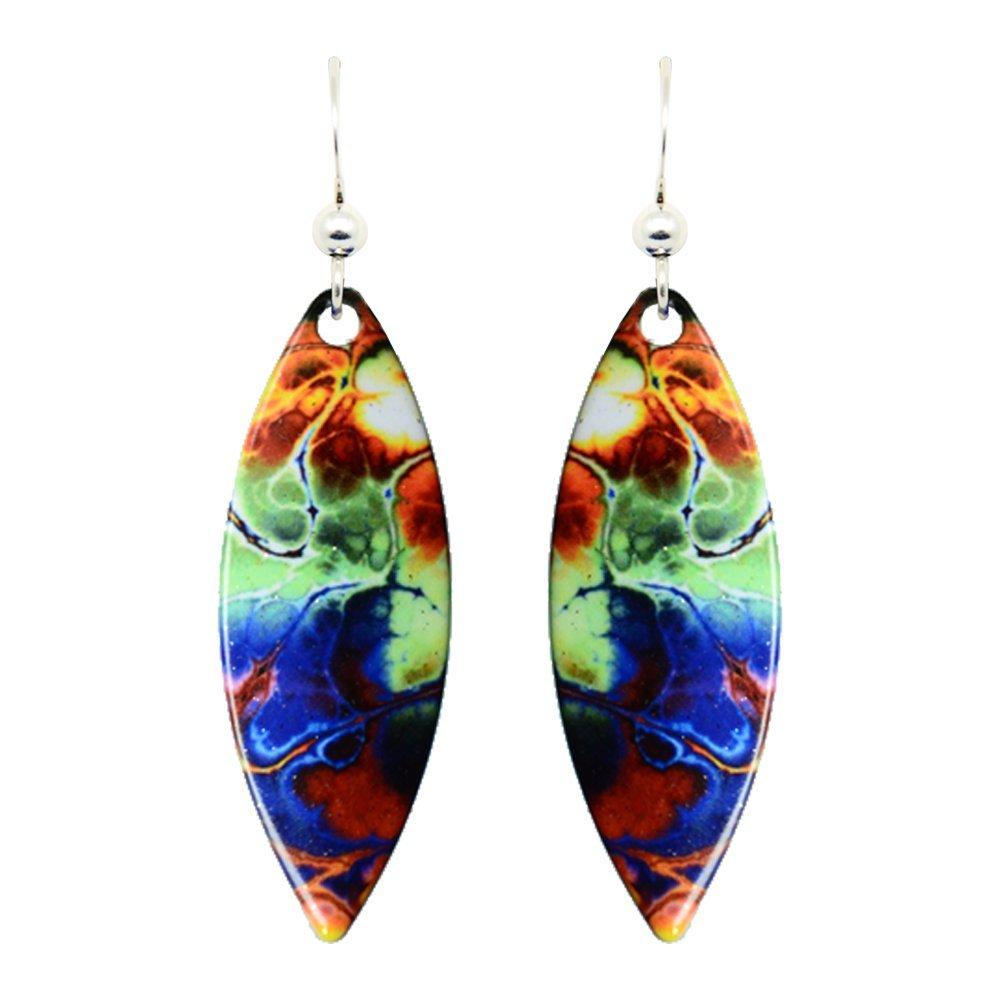 Blue Tie Dye Earrings by dears Non-Tarnish Sterling Silver French Hook Ear Wire