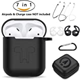 AirPods Case 7 In 1 Airpods Accessories Kits Protective Silicone Cover and Skin for Apple Airpods Charging Case with Airpods Ear Hook Grips/Airpods Staps/Airpods Clips/Skin/Tips/Grips Black by Amasing