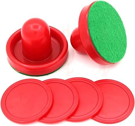 Khannika Air Hockey Accesorios de Repuesto para Juego de Mesa de casa, Juegos de Mesa de Adultos Entretenimiento Juguetes – 2 Manillas + 4 Bolsillos (Rojo): Amazon.es: Deportes y aire libre