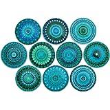 Set of 10 Turquoise Mandala Wood Cabinet Knobs
