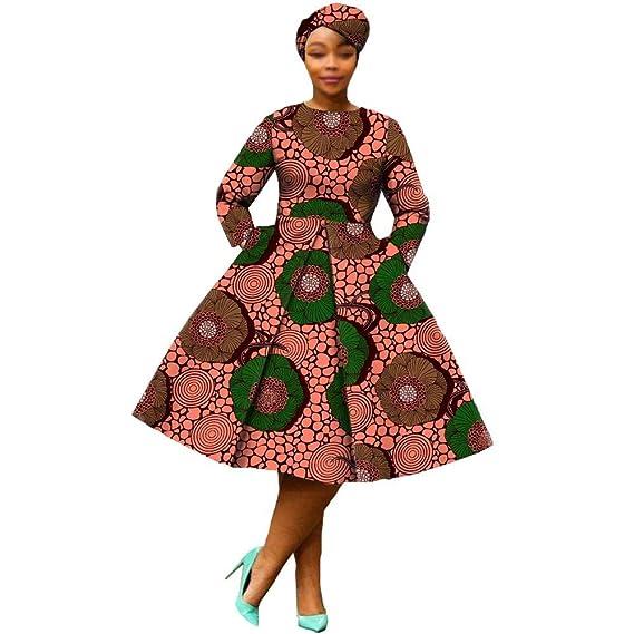 RealWax Vestido Africano para Mujer, Vestido de Fiesta, Floral ...