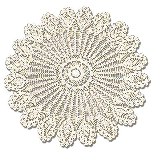 KEPSWET Handmade Crochet Cotton Lace Tablecloth Round Pineapple Flower Doilies Weave Table Overlays (36-Inch Round, Beige)