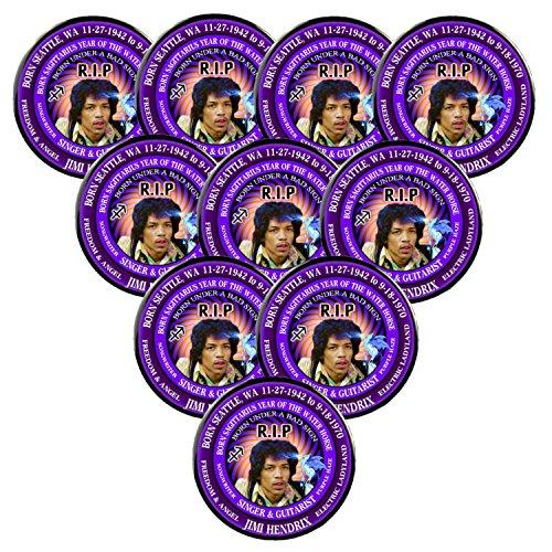 Pack-10 Jimi Hendrix RIP Pins, Born Astrology Sagittarius Zodiac Water Horse (3