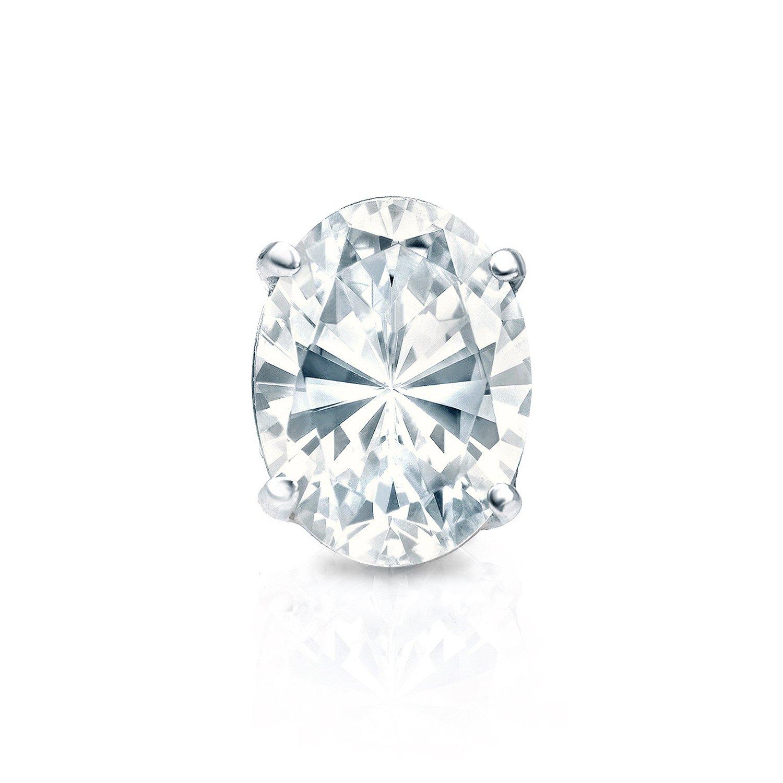 14k White Gold Oval Diamond Men SINGLE STUD Earring 4-Prong Basket 1//4-1ct,White,SI1-SI2