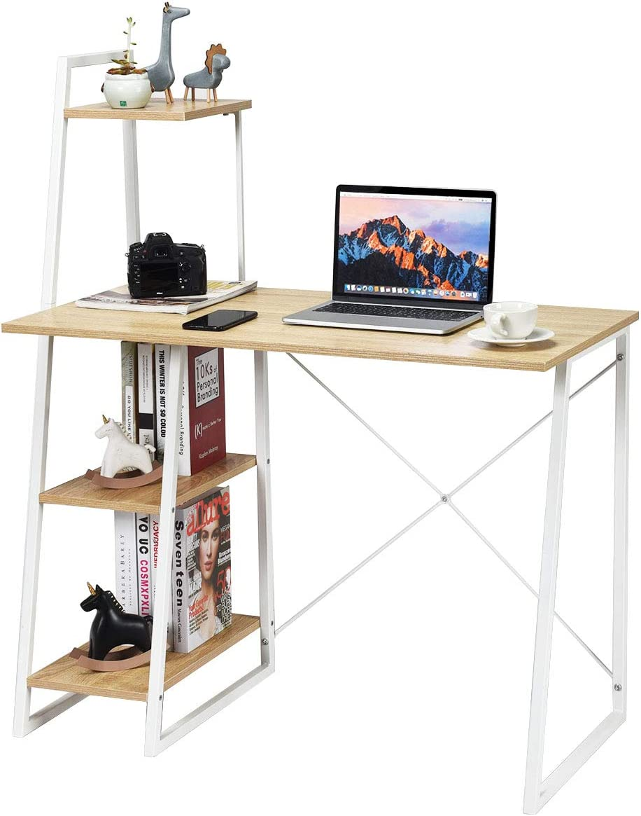 Tangkula Computer Desk with 4 Tier Shelves, Writing Desk Study Desk, Compact Computer Desk Workstation with X-Shaped Metal Frame Particle Board, Home Office Desk Natural