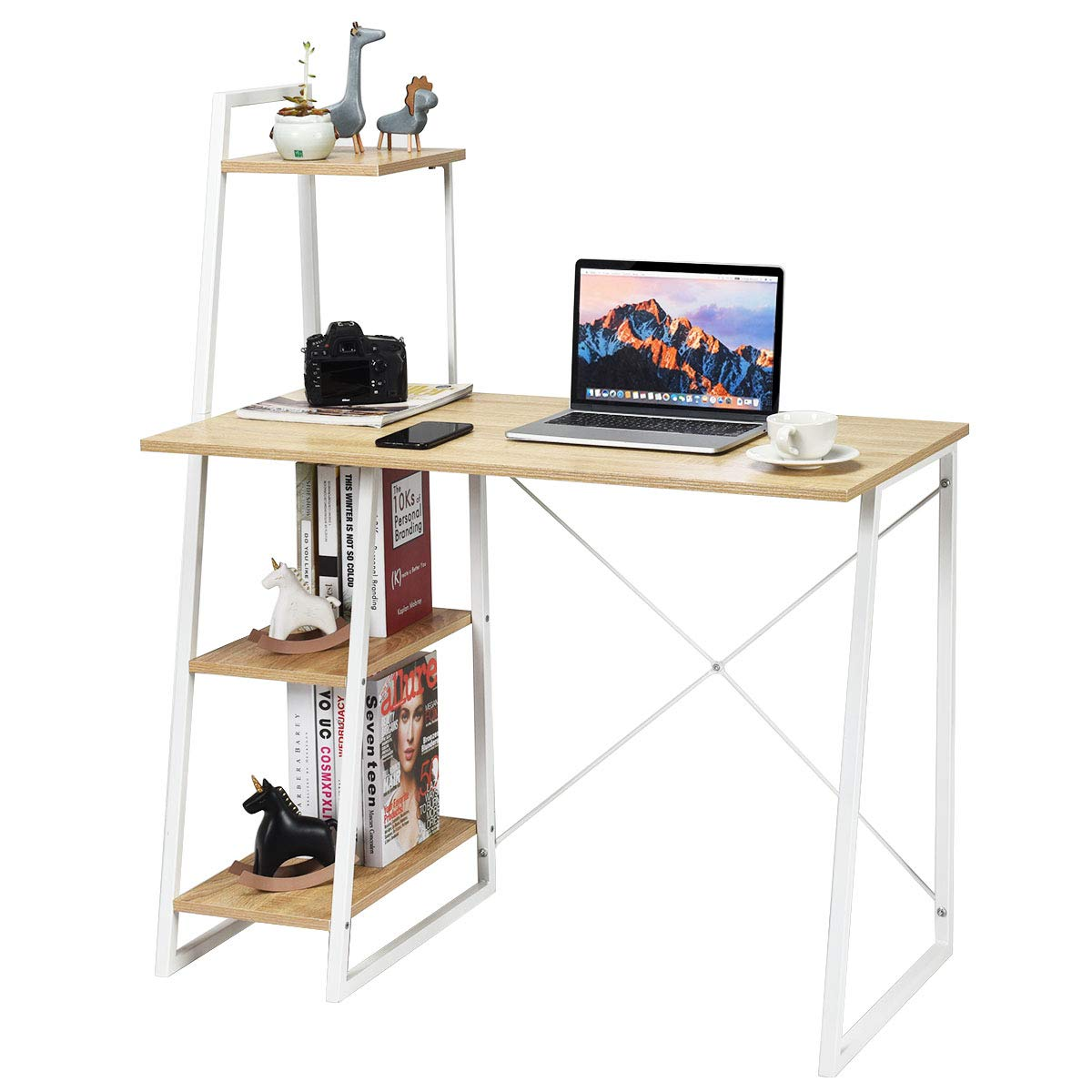 Tangkula Computer Desk with 4 Tier Shelves, Writing Desk Study Desk, Compact Computer Desk Workstation with X-Shaped Metal Frame & Particle Board, Home Office Desk (Natural) by Tangkula