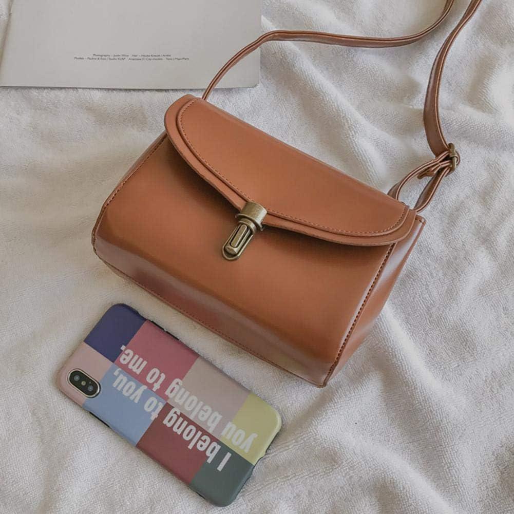 Tuankay Vintage Leather Shoulder Handbags Women Messenger Solid Color Crossbody Bag