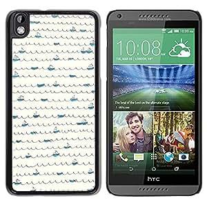 For HTC DESIRE 816 Case , Minimalist Scribble Pattern Boat Lines - Diseño Patrón Teléfono Caso Cubierta Case Bumper Duro Protección Case Cover Funda