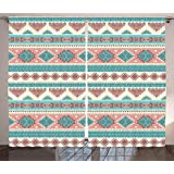 Tribal Decor Curtains by Ambesonne, African Vintage Design Native Ethnic Style Artsy Geometric Triangles, Living Room Bedroom Window Drapes 2 Panel Set, 108W X 84L Inches, Cream Aqua and Peach