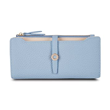 Amazon.com: Latest Lovely Leather Long Women Wallet Girls Change Clasp Purse Money Coin Card Holders Wallets Carteras Blue