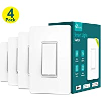 4-Pack Treatlife Single Pole 2.4Ghz Wi-Fi Smart Light Switch with Remote Control (White)