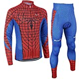 Mzcurse Men's Superhero Jersey Shirts Compression Pants Tights Kit Set(Spiderman, Large,please check the size chart)