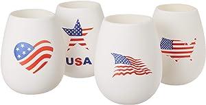 Shark Skinz Americana Silicone Drinkware - Set of 4, 16oz, Multicolor