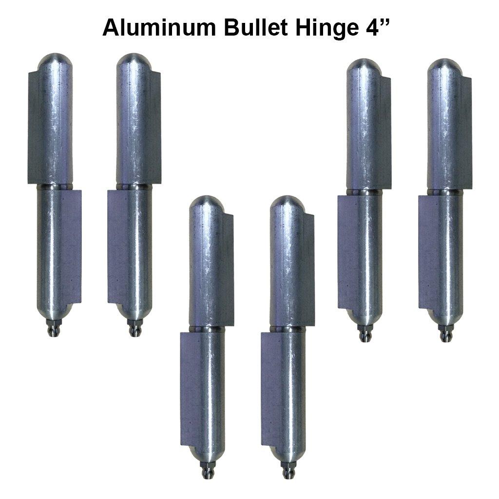 "4"" Aluminum Gate Bullet Hinge Stainless Steel Bushing & Pin Material Lot 3 Pair"