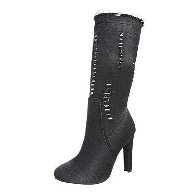 Ital Design High Heel Stiefel Damenschuhe Klassischer Stiefel Pfennig Stilettoabsatz High Heels Reißverschluss Stiefel