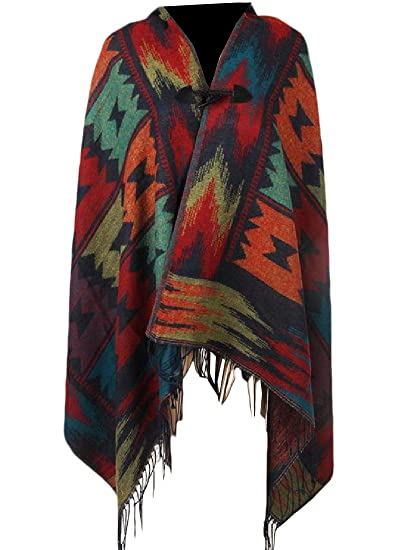 Freely Women's Tassel Navajo Floral Horn Button Hood Poncho Knit