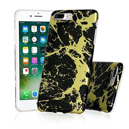 iPhone 7 Plus Case, Asstar Marble Design Bumper Matte TPU Soft Shock Absorption Protective Cover Case for Apple iPhone 7 Plus (2016) / iPhone 8 Plus (2017) 5.5 inch (Black - Shield Credit 360
