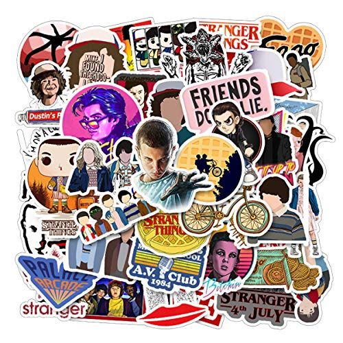 Meet Holiday Stranger Things Movie Sticker 50 PCS PVC Waterproof Stickers for Laptop, Notebooks, Car, Bicycle, Skateboards, Luggage Decoration (Stranger Things)