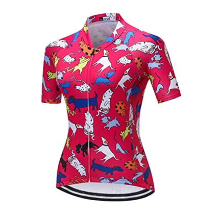 6459feccc Weimostar Cycling Jersey for Women Short Sleeve Bike Shirt Animal Paradise  Pink Size S