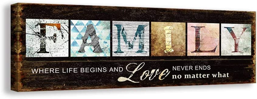 Kas Home Inspirational Motto Canvas Wall Art,Family Prints Signs Framed, Retro Artwork Decoration for Bedroom, Living Room, Office & Home Wall Decor (5.5 x 16 inch, Family)