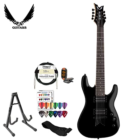 GoDpsMusic vn17 Dean Vendetta (7 cuerdas Guitarra eléctrica en Classic Negro con Soporte, cable