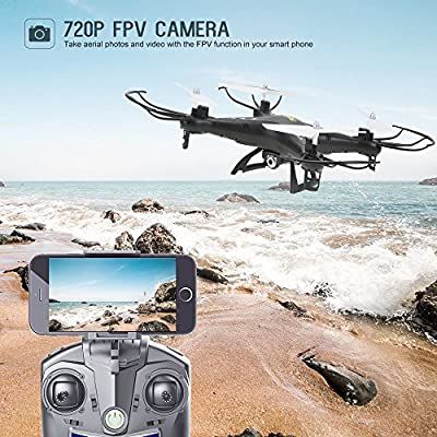 Holy Stone HS110 FPV RC Drone with Camera 720P HD Live Video WiFi 2.4GHz 4CH 6-Axis Gyro RC Quadcopter with Altitude Hold, One Key Return and Headless Mode Function RTF, Color Black by Holy Stone
