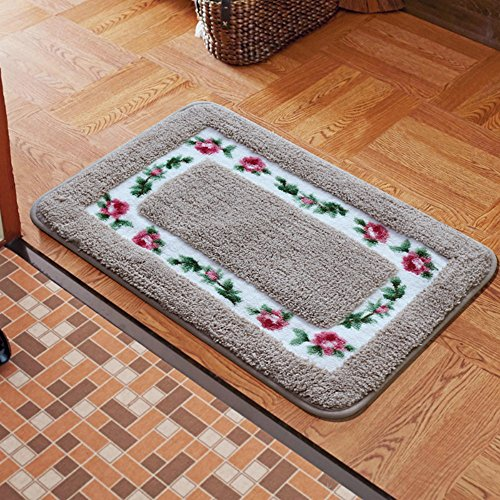 Sytian Decorative Super Soft Floral Design Rural Style Pretty Rose Pattern Non Slip Absorbent Shaggy Area Rug Carpet Doormat Floormat Bath Mat Bathroom Shower Rug (15.75x23.62 Inch) (Camel) (Rug Shagg)