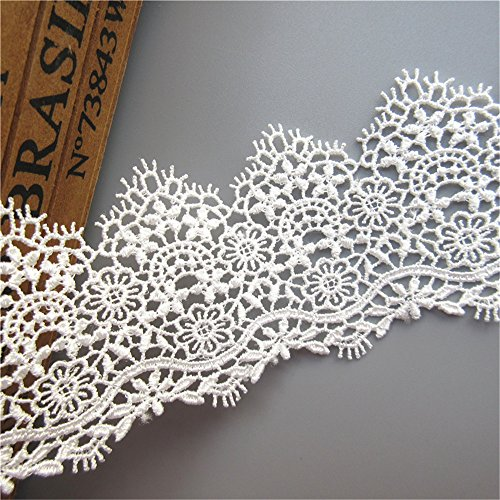 2 Meters Guipure Lace Edge Trim Ribbon 5 cm Width Vintage Style White Edging Trimmings Fabric Embroidered Applique Sewing Craft Wedding Bridal Dress Embellishment DIY Decoration Clothes Embroidery
