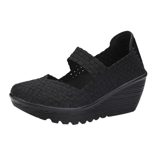 31878919b9f06 Zapatos para Mujer Otoño 2018 Zapatillas de Cuña Dama de Plataforma PAOLIAN  Casual Merceditas Cómodo Calzado de Señora de Moda Breathable Zapatillas de  ...