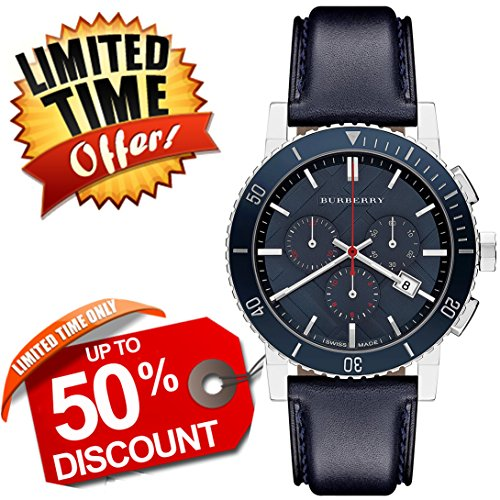 Burberry The City SWISS LUXURY Round Stainless Steel CERAMIC Chronograph Blue Leather Band 42mm Blue Date Dial Men Unisex Women Watch BU9383