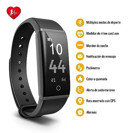 Mpow Pulsera de Actividad Inteligente Impermeable con Pulsómetro, Podómetro, Monitor de Sueño, Calorías, GPS, Múltiples Modos de Deporte,Notificaciones de ...