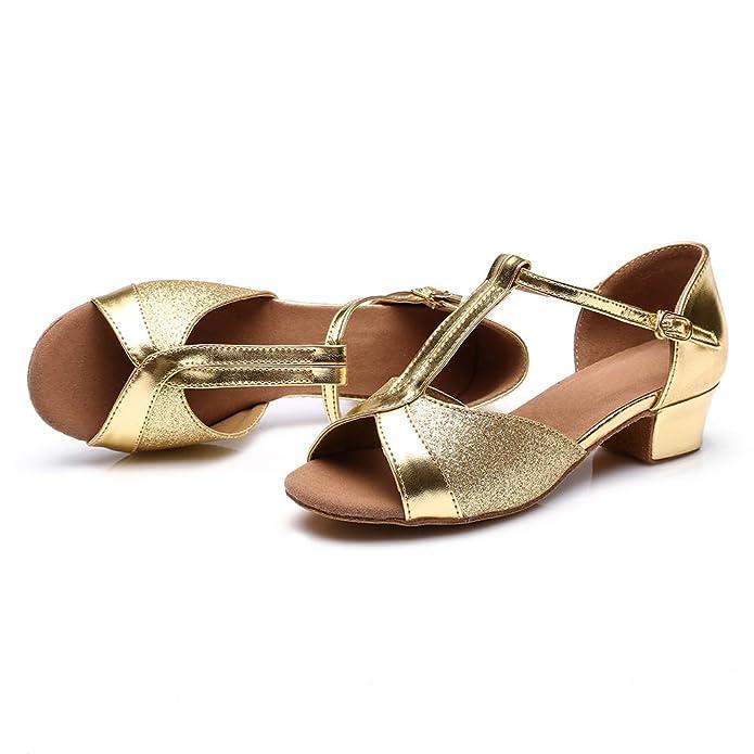 JINFENGKAI Girls Latin Salsa Dance Shoes Style 305: Amazon.co.uk: Shoes &  Bags
