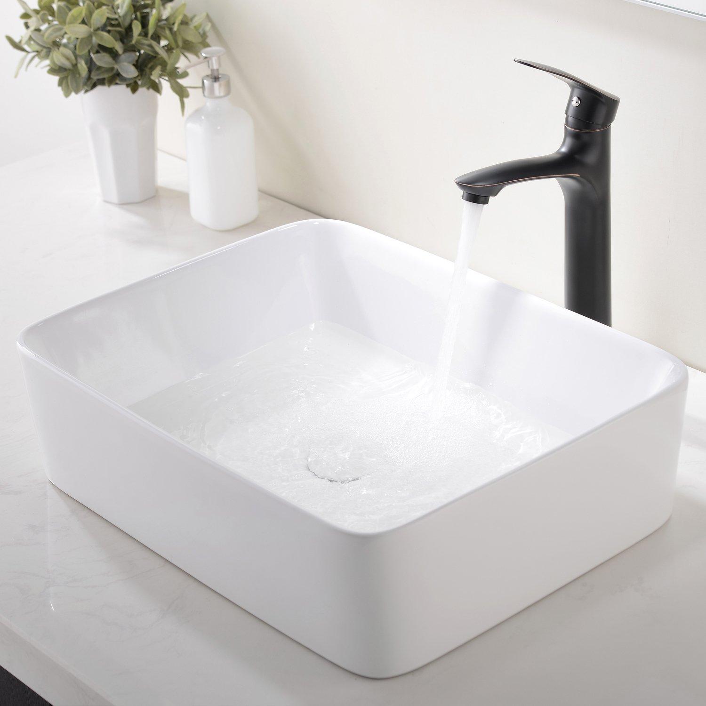 Modern Porcelain Above Counter White Ceramic Bathroom Vessel Sink ...