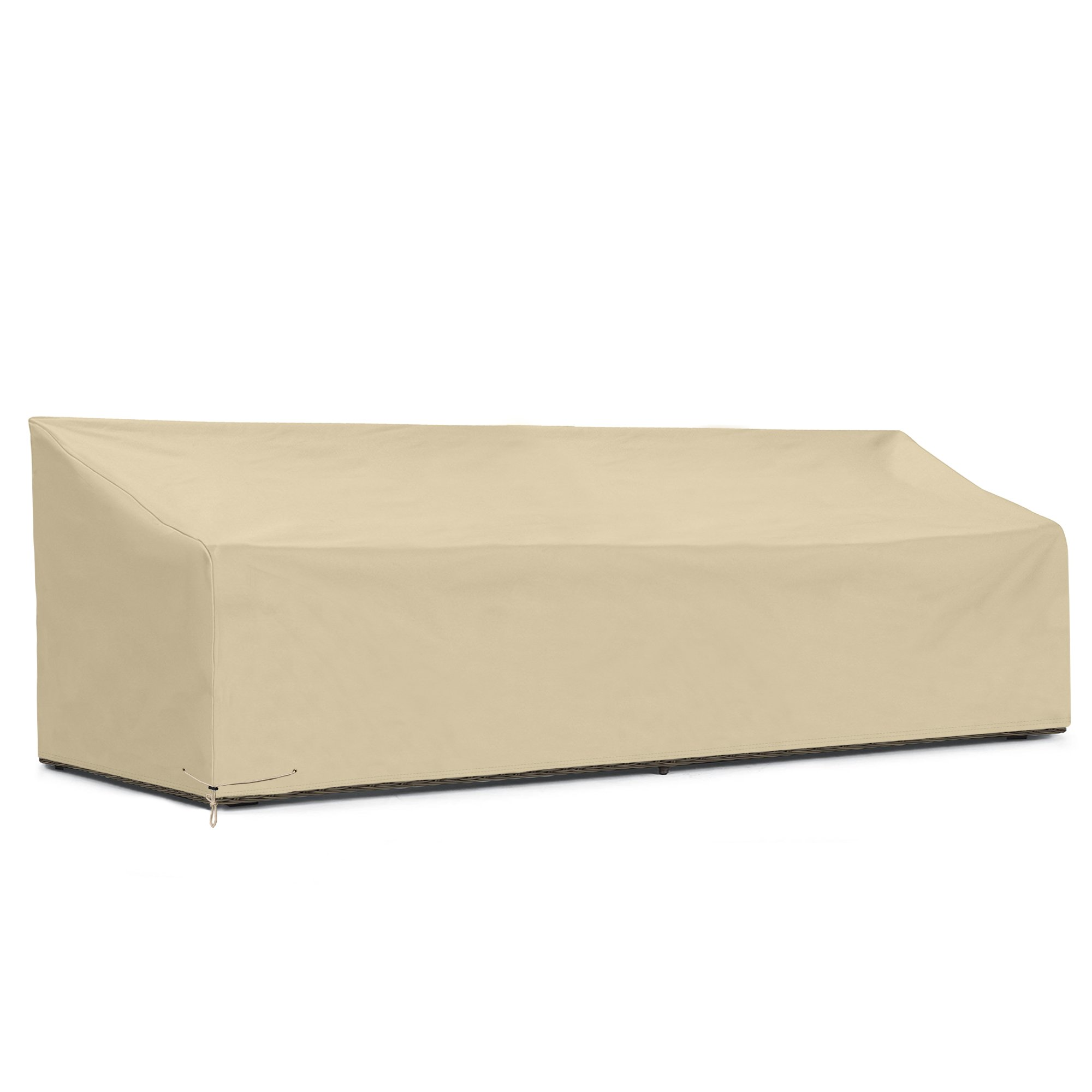 SunPatio Outdoor Large Bench Cover 110 Inch, Patio Veranda Sofa Cover with Waterproof Sealed Seam, Patio Furniture Cover, All Weather Protection, Beige by SunPatio