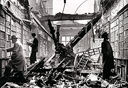 Library After Air Raid Poster, London 1940, Library After Bombing, World  War 2