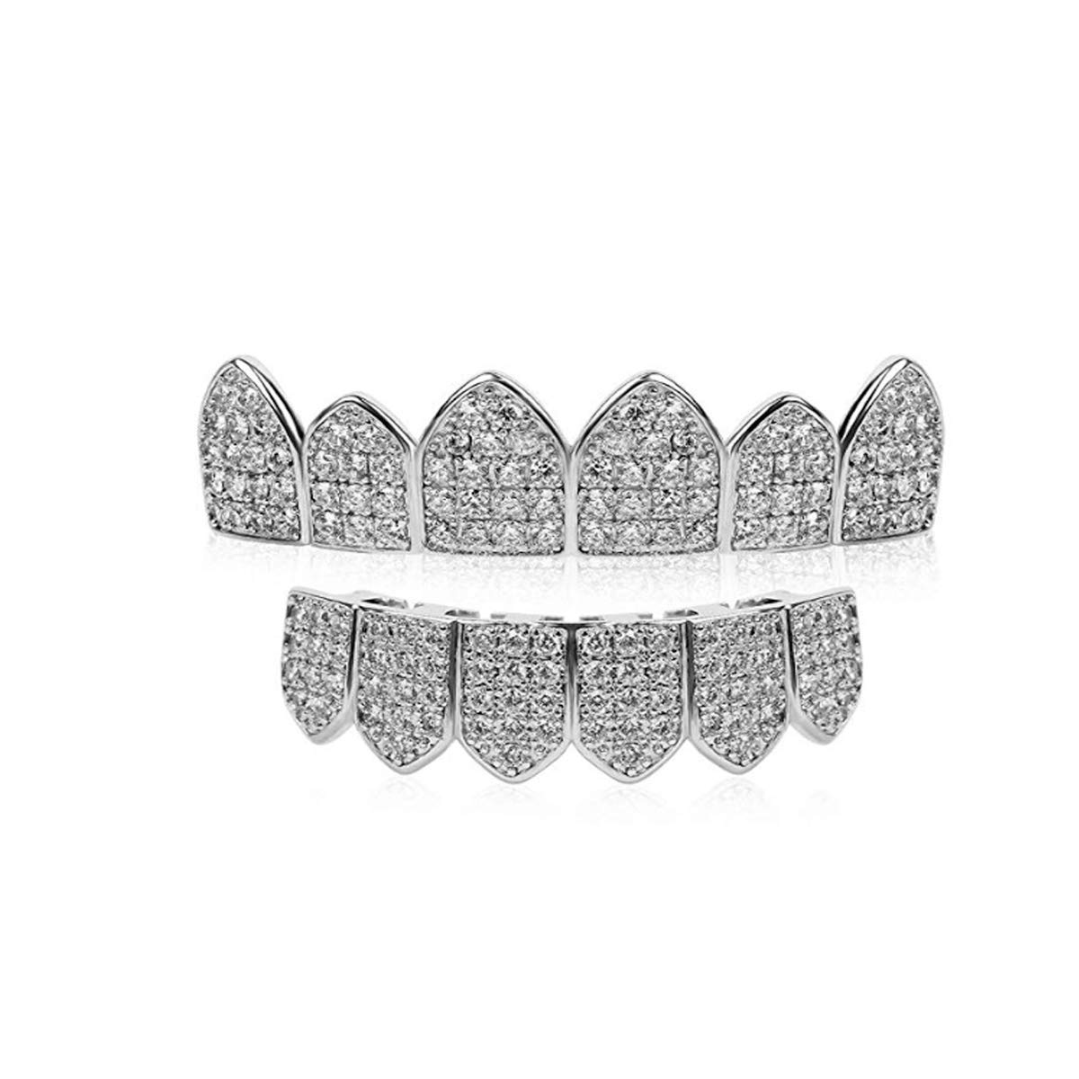 18K White Gold Plated CZ Cluster Custom Slugs Top Bottom Grillz Mouth Teeth Grills Set - Grillz, Teeth Cap, Iced Out Grillz by Zilver